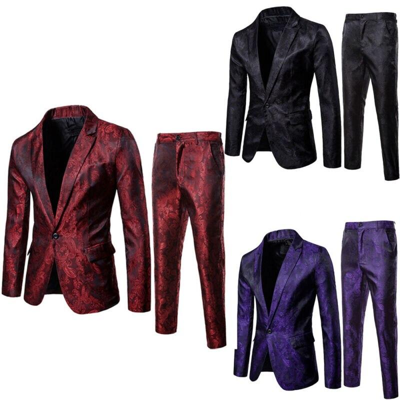 2019 New 2Pcs Men Blazer Suit Slim Fit Tuxedo Coat Pants Trousers Formal Evening Wedding Groom Coat Costume Homme Blazer Men