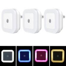 Mini LED Night Light EU/US Plug in Dusk to Dawn Sensor Wall Nights Lamp Square for Bedroom Hallway Stairs Corridor 110V 220V