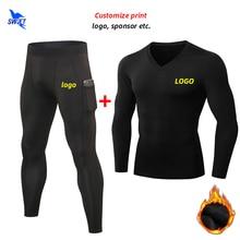Running-Set Tracksuits Mobile-Pocket Fitness-Training Fleece Gym Custom Warm Winter Men