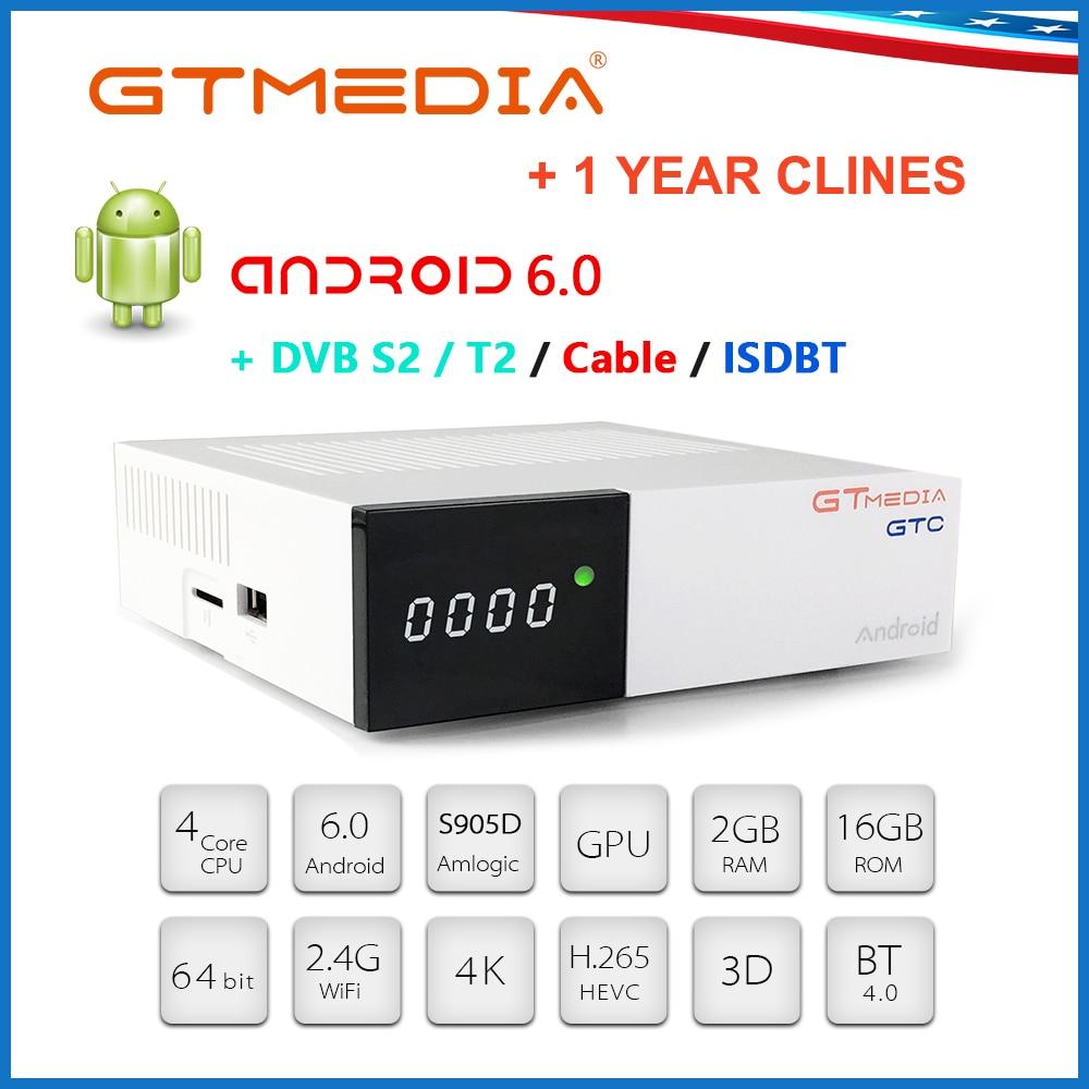 GTMEDIA GTC Smart TV Box Android 6.0 2GB 16GB S905D 4K H.265 Wifi Netflix Set Top Box+1 Year Cam Media Player Android TV BOX