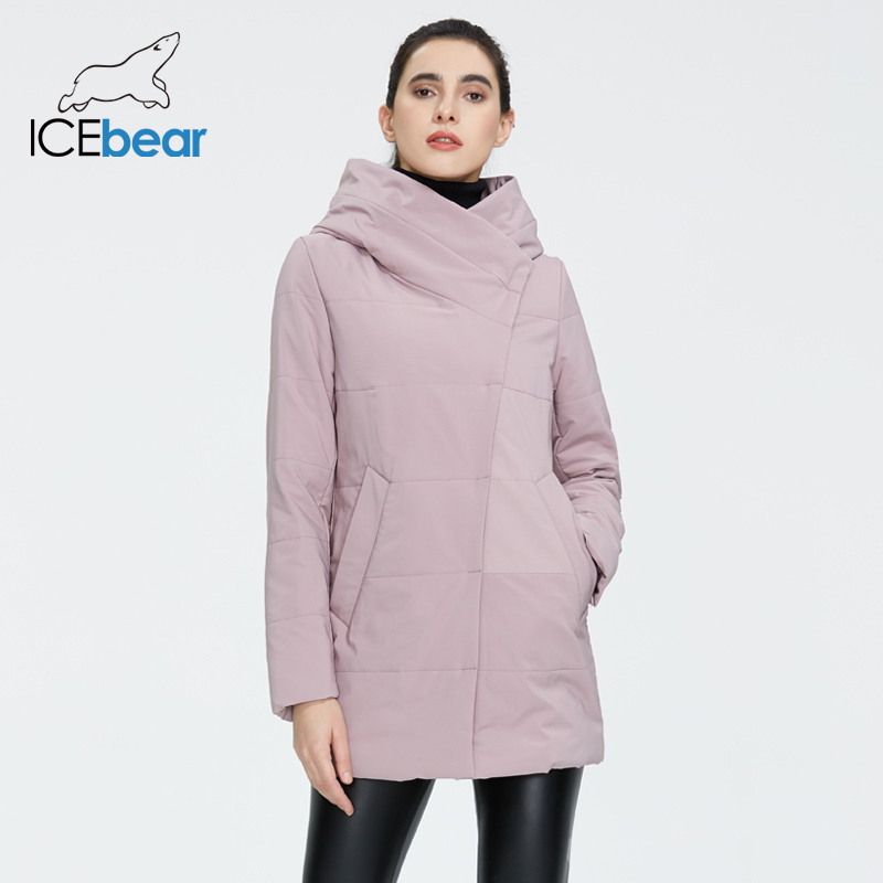 ICEbear 2020 Fall  New Ladies Coat Windproof Warm Short Jacket Zippered Design High Quality Women's Clothing GWC20508I