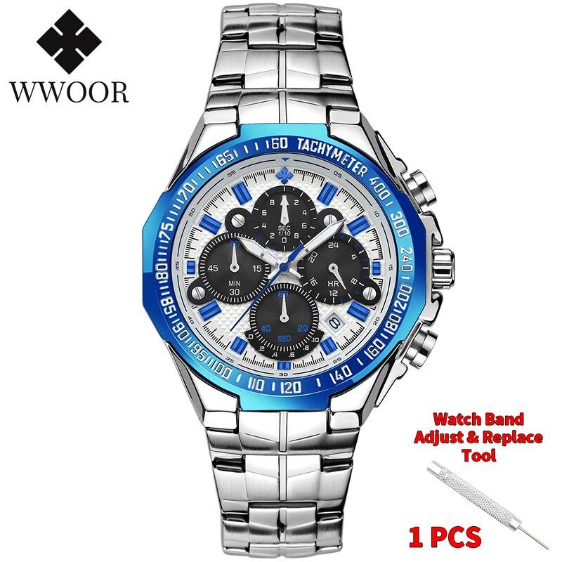 WWOOR 2020 New Men Watches Top Brand Luxury Gold Stainless Steel Quartz Watch Men Waterproof Sport Chronograph Relogio Masculino 1