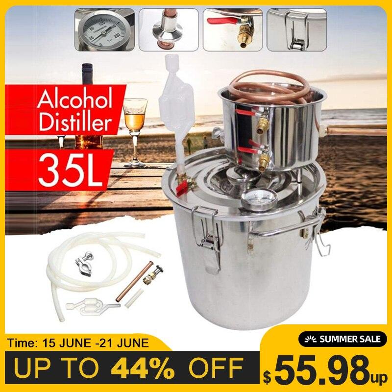 Destilador eficiente de 35L 8GAL, Alcohol alámbrico Moonshine, aún de cobre inoxidable, Kit de elaboración de aceite de vino esencial para cerveza casera DIY