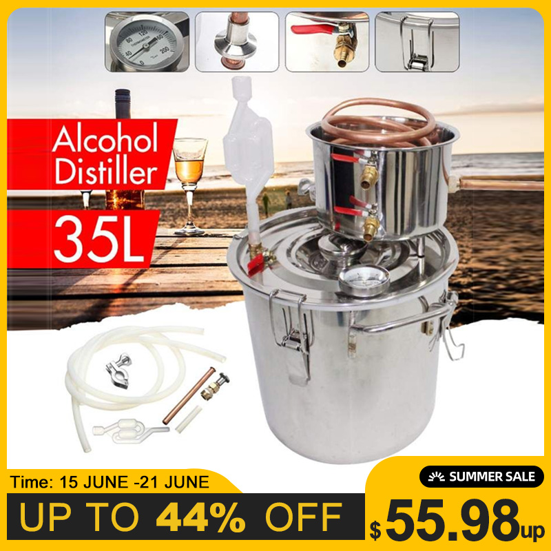 Efficient 8GAL 35L Distiller Alambic Moonshine Alcohol Still Stainless Copper DIY Home Brew Water Wine Essential Oil Brewing Kit