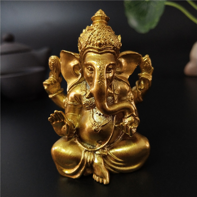 Golden Ganesha Statue Buddha Elephant God Sculpture Ganesh Figurines Resin Craft Home Garden Flowerpot Decoration Buddha Statues 5