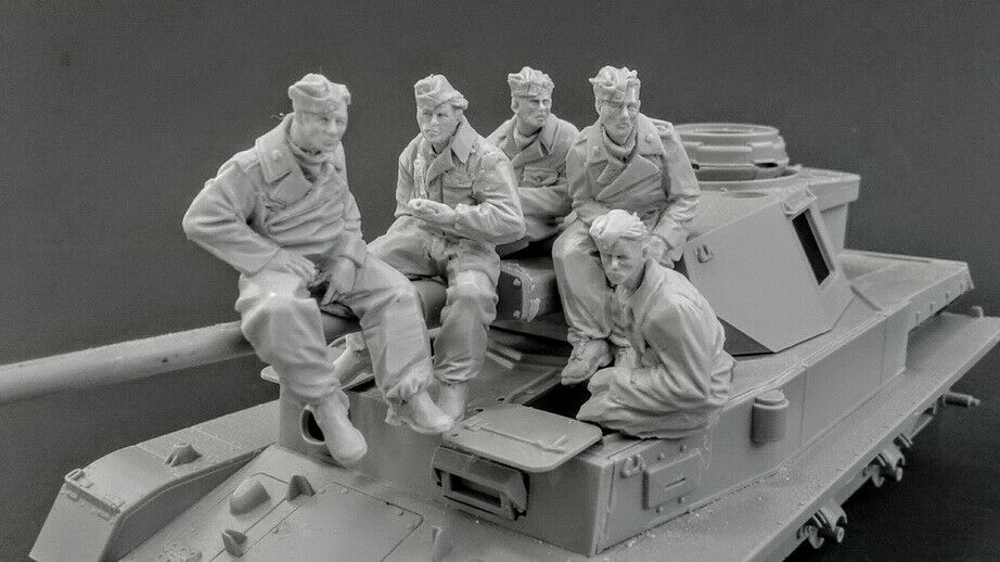 1/35 Ancient Panzer Crews (5 Figures) (NO TANK )   Resin Figure Model Miniature Gk Unassembly Unpainted
