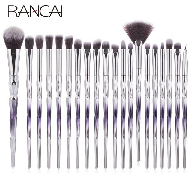 RANCAI 20pcs Makeup Brushes Set Foundation Powder Blush Eyeshadow Sponge Wool Fiber Hair Small Fan Brush Cosmetic Brushes Tools