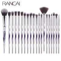 RANCAI 20pcs Makeup Brushes Set Foundation Powder Blush Eyeshadow Sponge Brush Soft Hair Cosmetic Brushes Tools with Leather Bag