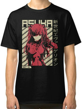 Evangelion - Asuka Poster Anime Men'S Black T-Shirt Stylish Custom Tee Shirt(China)