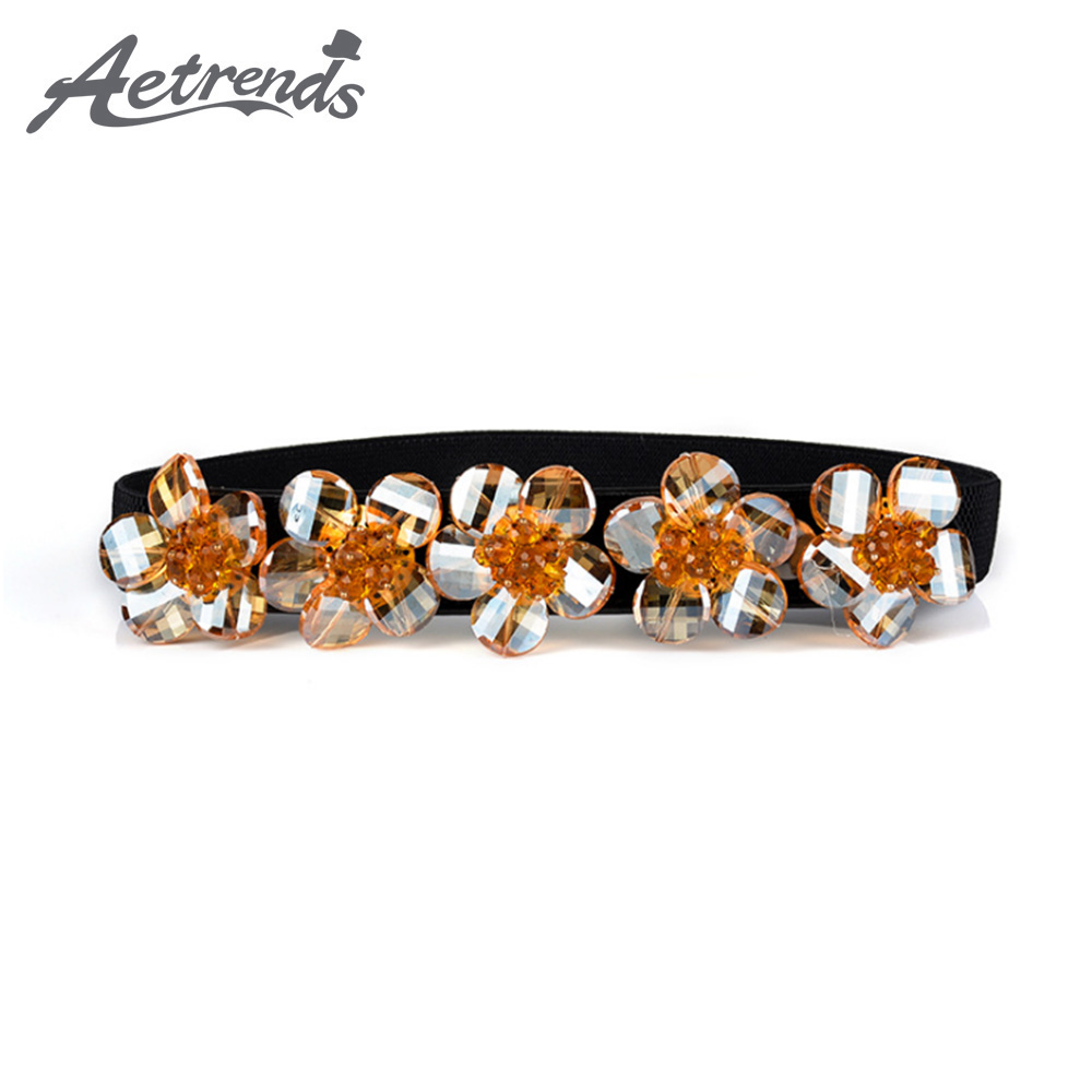 [AETRENDS] Stretch Belts For Women Pearl Rhinestone White Elastic Waistband D-0145