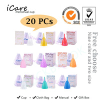 20 stücke Komfort Großhandel Wiederverwendbare Medical Grade Silikon Menstruations Cup Feminine Hygiene Produkt Dame Menstruation Copo BMC01NV