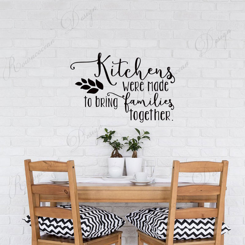 Кухни были сделаны, чтобы собрать семьи цитаты наклейки на стены виниловые домашний декор кухня ресторан съемные обои 4255