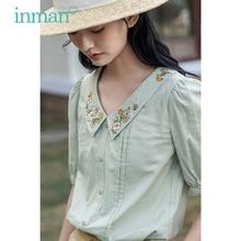 INMAN Summer White Blouse Artsy Style Embroidery Turn Down Collar Front Drape Design Half Sleeve Lantern Sleeve Tops Shirt
