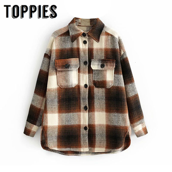 Women Plaid Shirt Jacket 2019 Winter Woolen Coat Single Breasted Oversize High Quality Lapel Tops - discount item  29% OFF Coats & Jackets