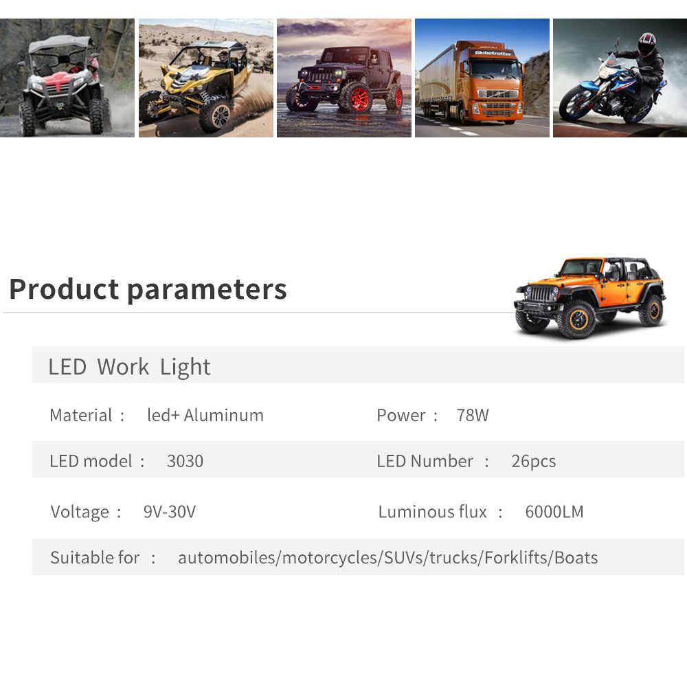 אוטומטי LED עבודת טריילר משאית ספוט זוהר מנורת 26LED 12V 24V נהיגה נורות