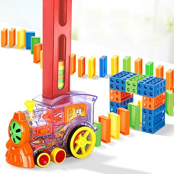 80 sztuk przezroczyste zabawki do budowania Domino pociąg automatycznie wystawia licencję na zabawki edukacyjne dla dzieci prezent dla chłopca tanie i dobre opinie QQW00537 8 ~ 13 Lat 14Y 2-4 lat 5-7 lat Z tworzywa sztucznego Zwierzęta i Natura Transport