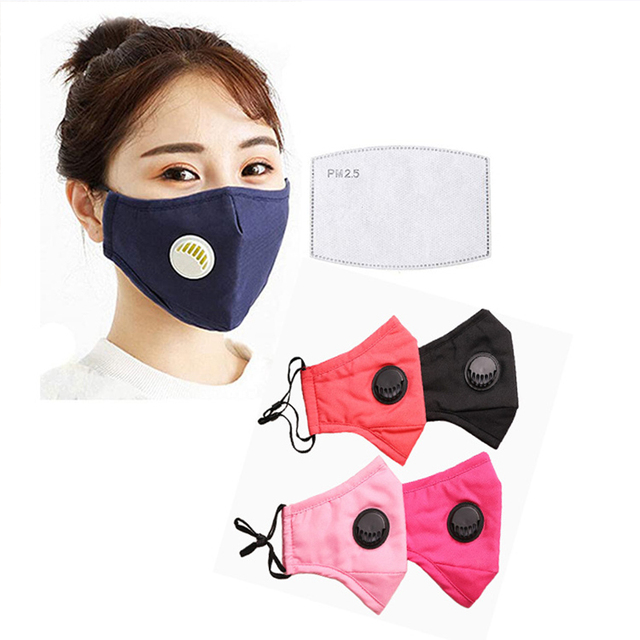 5pcs Cotton Mask Mouth Mask Face Mask Washable Reusable Anti PM2.5 Anti-Dust Masks with 10pcs Activated Carbon Filter Fabric 3