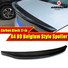 цена на Fits For Audi A4 B9 Rear Trunk Lip Spoiler Duckbill wings Carbon fiber Caractere style A4a A4Q wing Rear Spoiler car styling 17-
