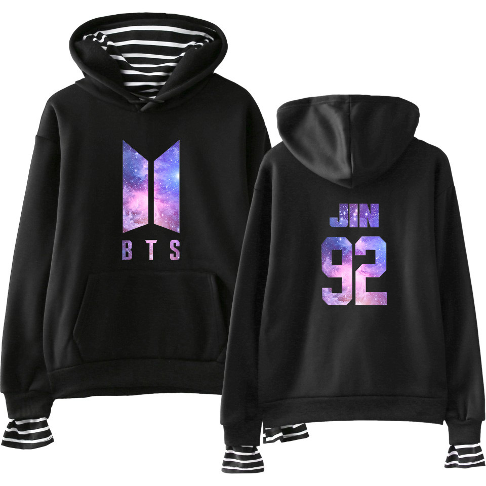 2018 New Style BTS Bulletproof Boys Star Purple Street Popular WOMEN'S Dress Mock Two-Piece Hoodie