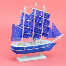 Creative Wooden Sailboat Models Ornaments Smooth Sailing Blue Powder Mediterranean Decoration Birthday Gifts Kids Sozzy