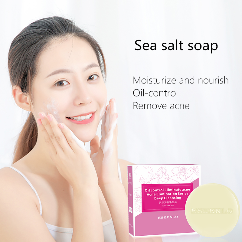 ESEENLO Sea Salt Soap Remove Pimple Pores Acne Treatment Cleaner Moisturizing Shea Butter Face Wash Soap Base Skin Care 80g 3