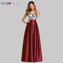 סקסי סאטן שמלות נשף אי פעם די EZ07638 אונליין עמוק V צוואר נצנצים שרוולים Sparkle ערב מסיבת שמלות Vestido דה גאלה
