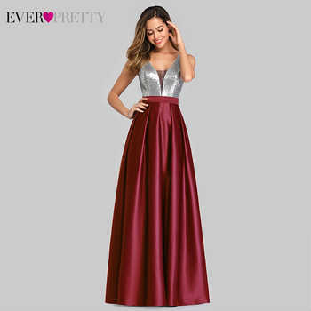 Sexy Satin Prom Dresses Ever Pretty EZ07638 A-Line Deep V-Neck Sequined Sleeveless Sparkle Evening Party Gowns Vestido De Gala - DISCOUNT ITEM  45% OFF All Category