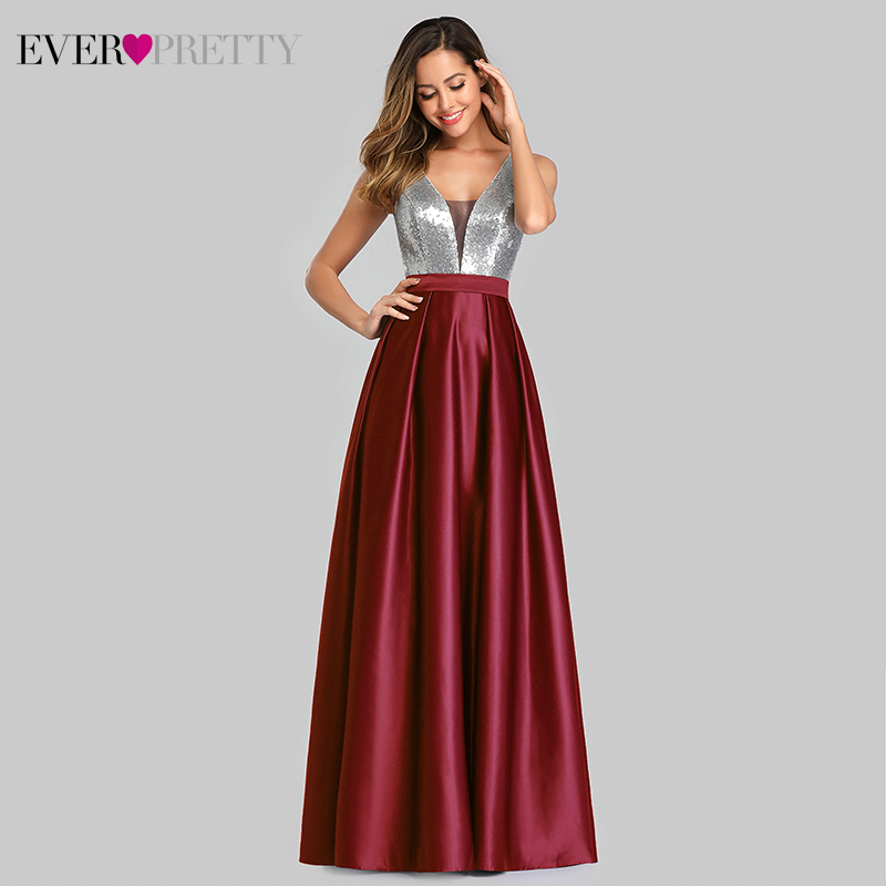 Sexy Satin   Prom     Dresses   Ever Pretty EZ07638 A-Line Deep V-Neck Sequined Sleeveless Sparkle Evening Party Gowns Vestido De Gala