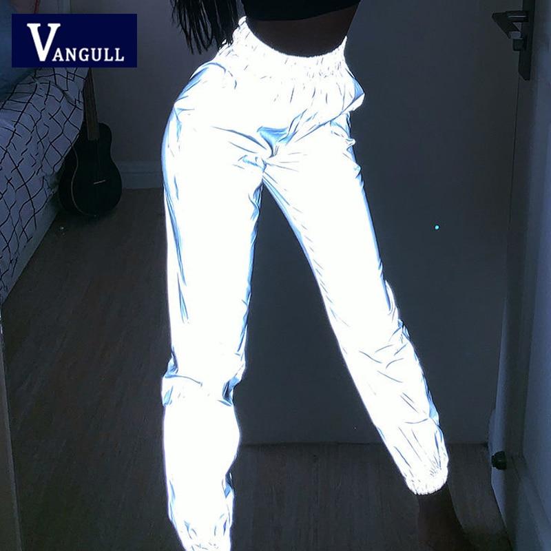 Vangull Pantalones largos reflectantes para mujer, Pantalón deportivo con cintura elástica, estilo urbano, de béisbol, para primavera|Pantalones y pantalones capri| - AliExpress