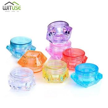 5Pcs 3g 5g Plastic Diamond Jar Clear Plastic Pot for Nail Art Glitters Mini Small Make Up Cream Cosmetic Sample Container New 50pcs make up jar cosmetic sample empty container plastic round lid small bottle