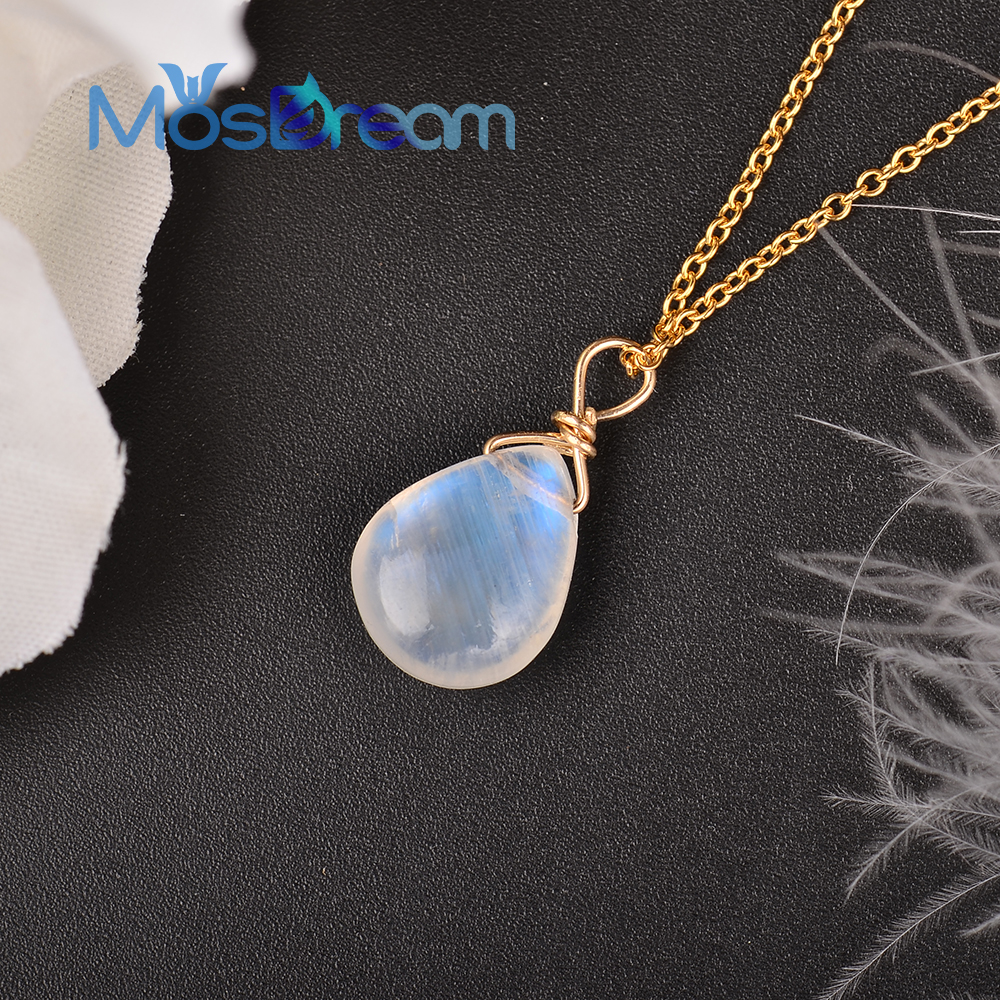 MosDream Natural Moonstone US 14k gold jewelry Chain Pendant Necklace Simple Elegant Jewelry for Women Romatic Gift-in Necklaces from Jewelry & Accessories