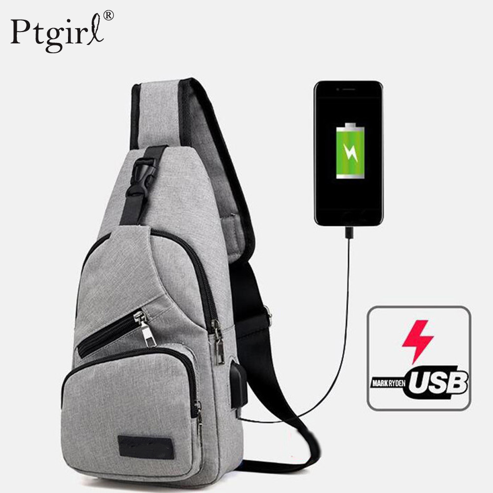 Men Shoulder Silng Bag USB Charging Crossbody Anti Theft Chest Messenger Bag