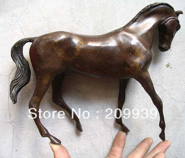 Frete grátis collectibles elegante estátua de cavalo de bronze