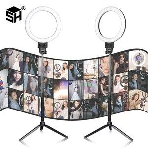 Image 1 - Photographie LED Selfie lumière annulaire 16/23cm lumière de Studio Photo à intensité variable avec Mini trépied prise USB pour maquillage Youtube vidéo en direct