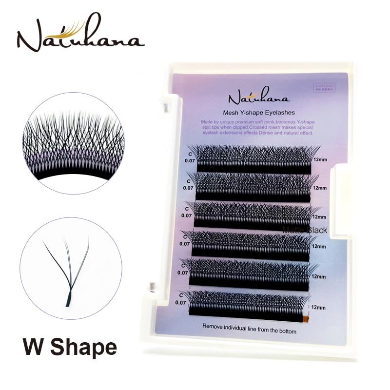 NATUHANA Korea PBT 3D W Shape Automatic Flowering Eyelashes W Style Volume Fans Individual Natural False Lashes for Extension(China)