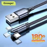 Essager-Cable Micro USB tipo C giratorio para móvil, Cable de datos de 90 grados para Xiaomi, Samsung, 3A, carga rápida, USBC, tipo C