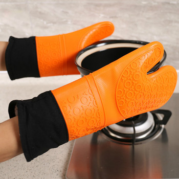 2pcs Silicone kitchen Oven Mitt Glove Potholder with Extra Long Canvas Sleeve Stitching for Grilling BBQ Silicone Bake Gloves