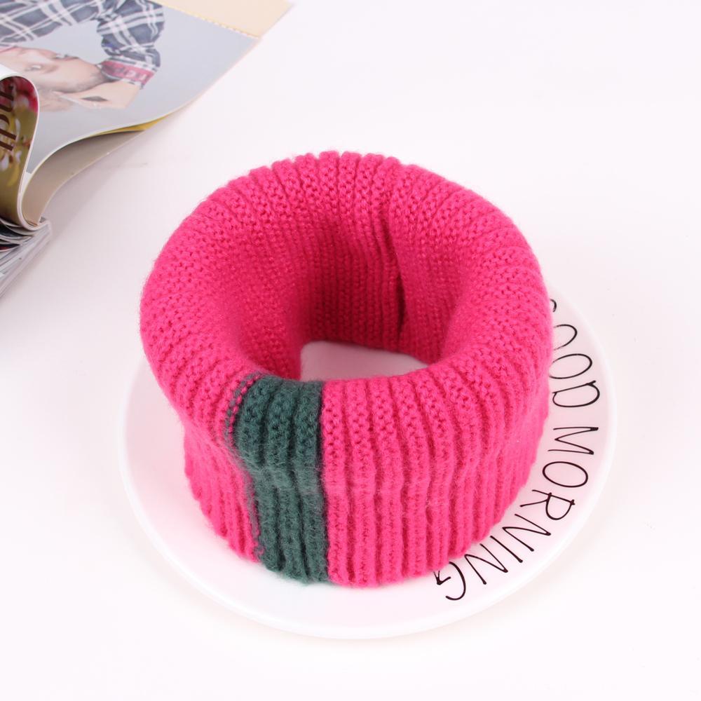 VISROVER/вязаный шарф для девочек и мальчиков, детское кольцо с полосками, безграничный снуд, Детские кашемировые шарфы, Круглый теплый шарф на шею - Цвет: 11