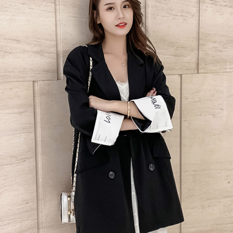 Temperament Casual Women's Blazer 2019 Autumn New Cuff Sequins Decorated Black Suit Large Size Female Elegant Office Jacket
