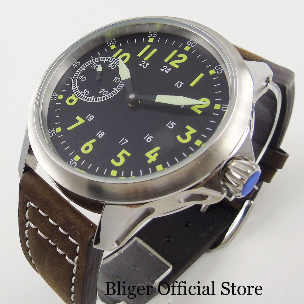 Top Quality SS Hand Winding Mechanical Men Wristwatch 45mm Case 6497 Movement Green Marks Sterile Dial Leather Strap