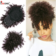 Leeons New Curly Bangs Drawstring 11Color Kinky Curly Hair Bangs Synthetic Hair Extensions Clip On Front Hairpieces Adjustable