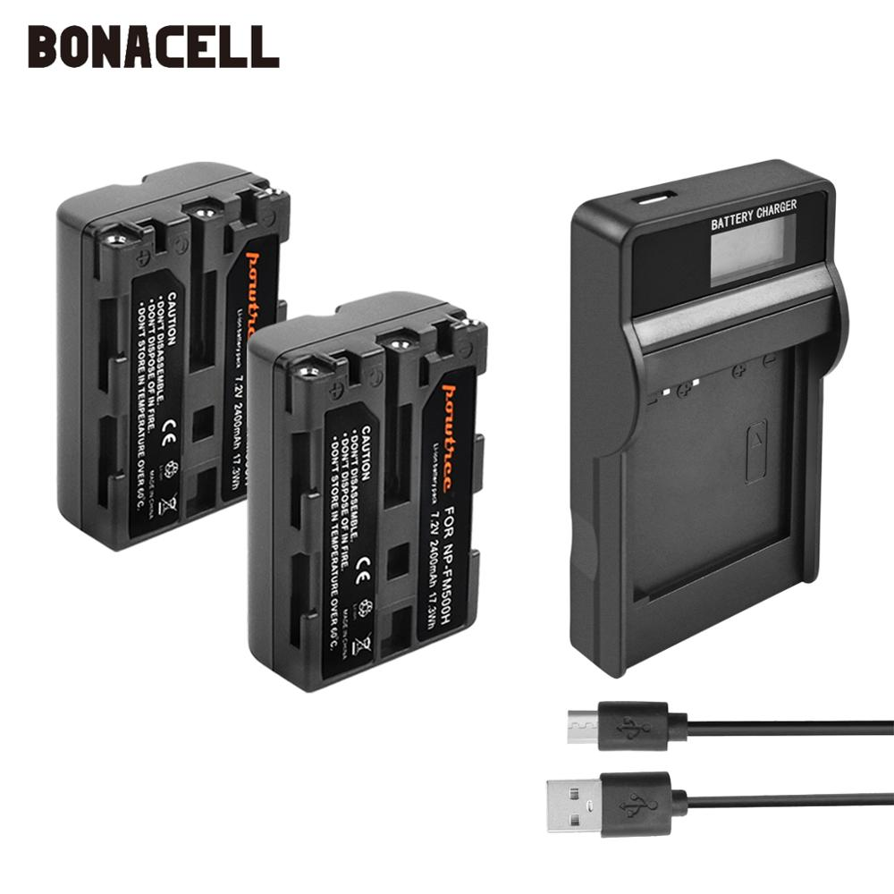 Bonacell 2400mAh NP-FM500H NP FM500H NPFM500H Camera Battery+LCD Charger For Sony A57 A58 A65 A77 A99 A550 A560 A580 Battery L50