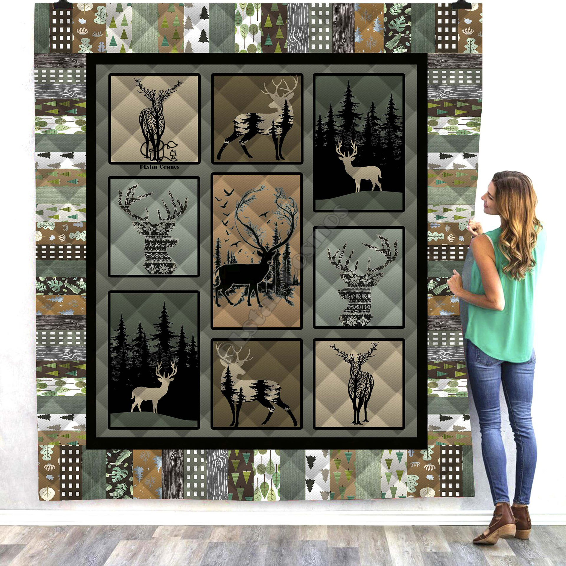 Hunter Deer Viking Tattoo Deer 3d Quilt Blanket Bedding Throw Soft Warm Thin Office Blanket With Cotton Style 3 Quilts Aliexpress