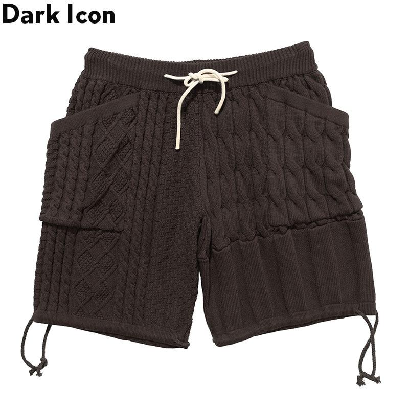 Dark Icon Knitwear Shorts Men Women Side Pockets Fashion Street Men's Shorts