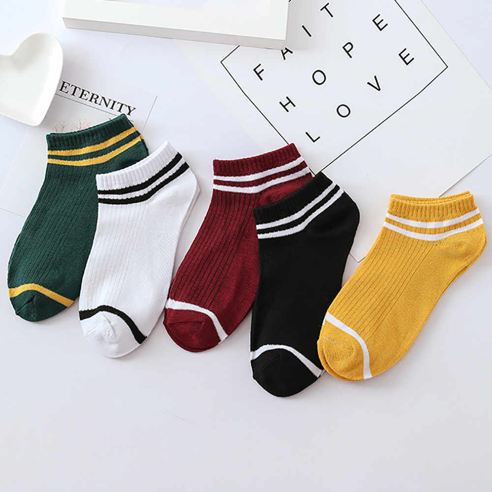 Socks Striped  Cotton 1Pairs Unisex Stripe Comfortable Cotton Sock Slippers Short  Ankle Socks happy socks women cotton