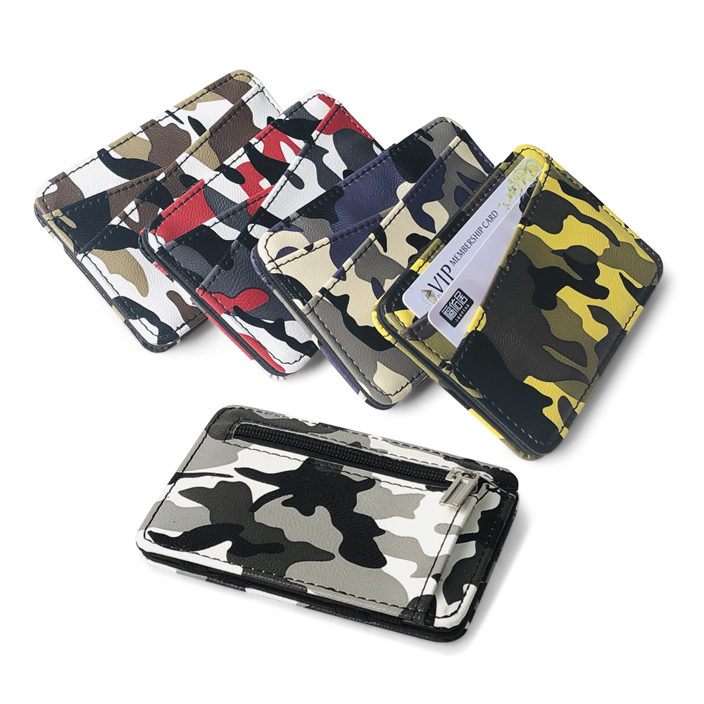 New Army Camouflage Mini Men's Leather Magic Wallet With Coin Pocket Slim Purse Money Clip Bag Bank Credit Card Card Cash Holder
