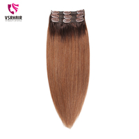 VSR clip hair ombre 2T6 color Machine Remy Hair Human Extensions Hair Clip Ins Easy Do Style 50cm 55cm Clip In Hair Extensions