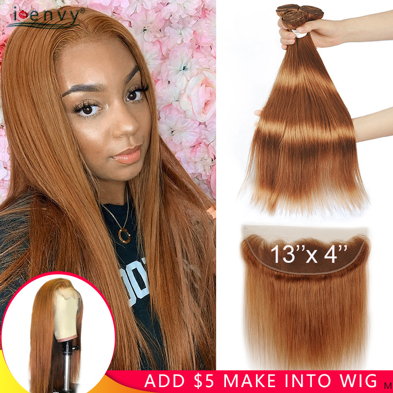 Ginger Blonde Bundles With Lace Frontal Closure Colored #30 Brazilian Straight Human Hair Bundles With 13*4 Closure Non-remy