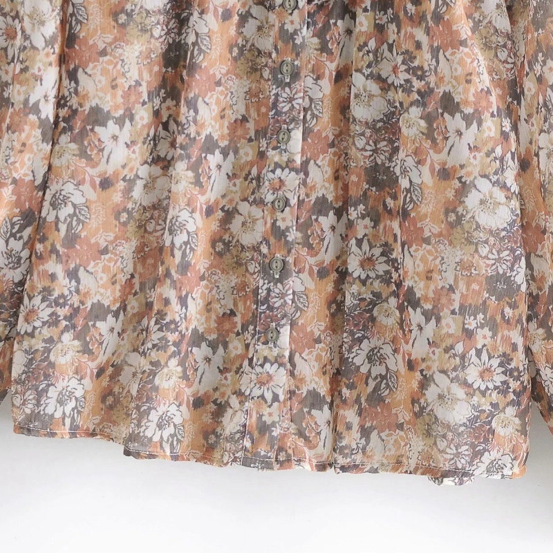 Women Cascading Ruffle Floral Printing Chiffon Shirts Vintage Female Long Sleeve Blouses Casual Lady Loose Tops Blusas S8295 4