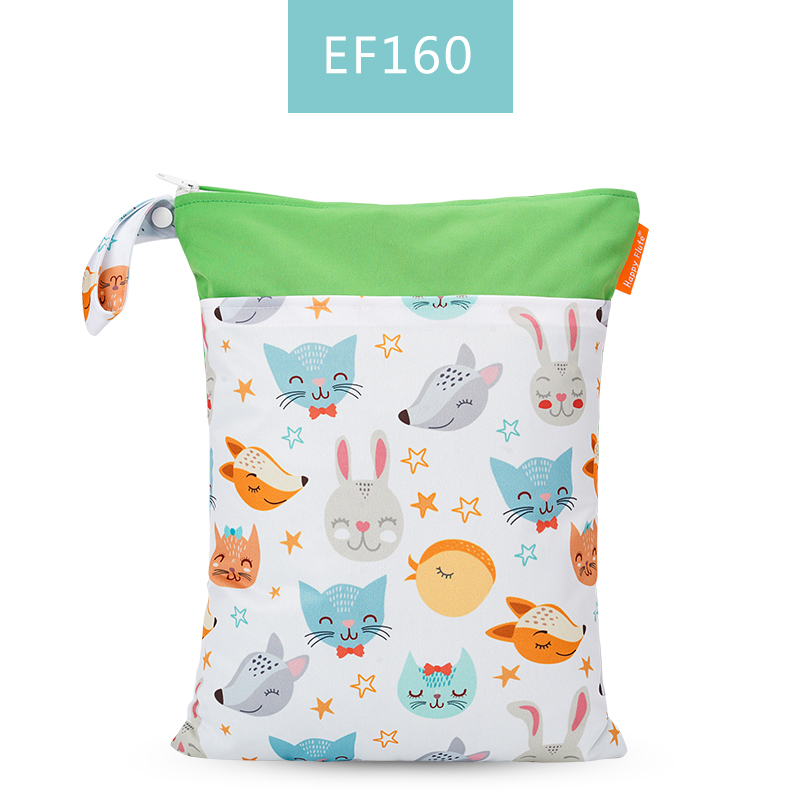 Happy Flute 1 шт. Многоразовые водонепроницаемые модные принты влажная сухая сумка для подгузников двойной карман тканевая Ручка сумки для мокрого плавания 30*40 см - Цвет: ES001EF160